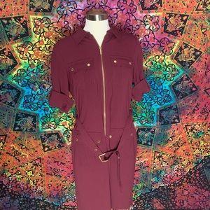 Maroon Micheal Kors Utility Dress
